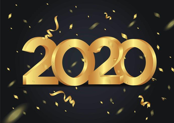 happy new year 2020 shining background with confetti vector